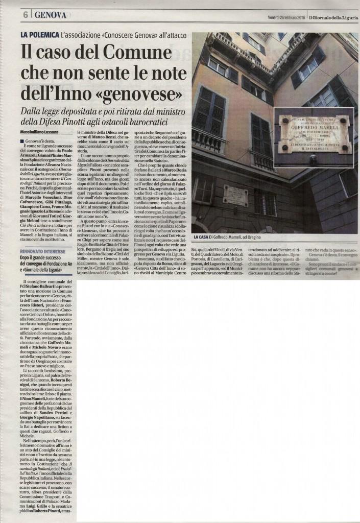 Il Giornale della Liguria - 26 Febbraio 2016