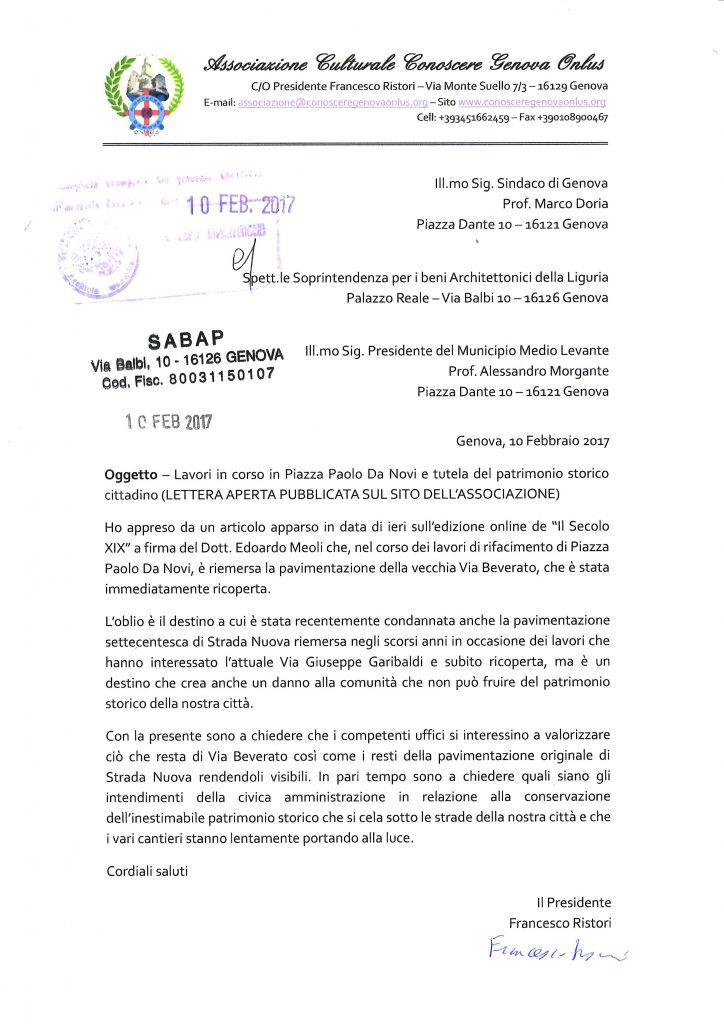 Copia della lettera